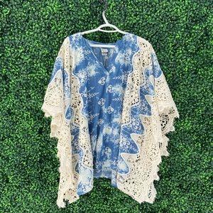 NWT Tie Dye Blue Crochet Tunic Beach Coverup
